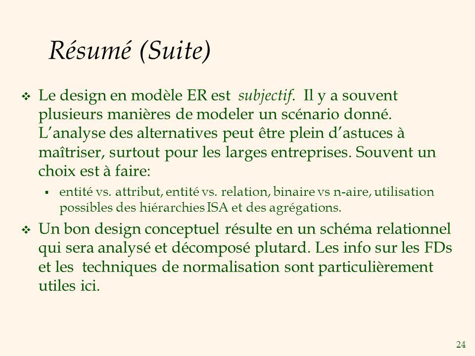24 Résumé (Suite) Le design en modèle ER est subjectif.