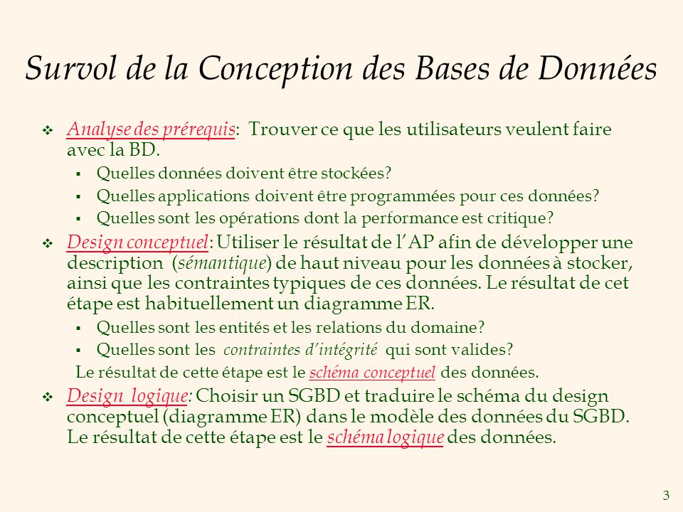 3 Survol de la Conception des Bases de Données Analyse des prérequis : Trouver ce que les utilisateurs veulent faire avec la BD.