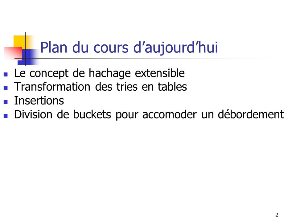 2 Plan du cours daujourdhui Le concept de hachage extensible Transformation des tries en tables Insertions Division de buckets pour accomoder un débor