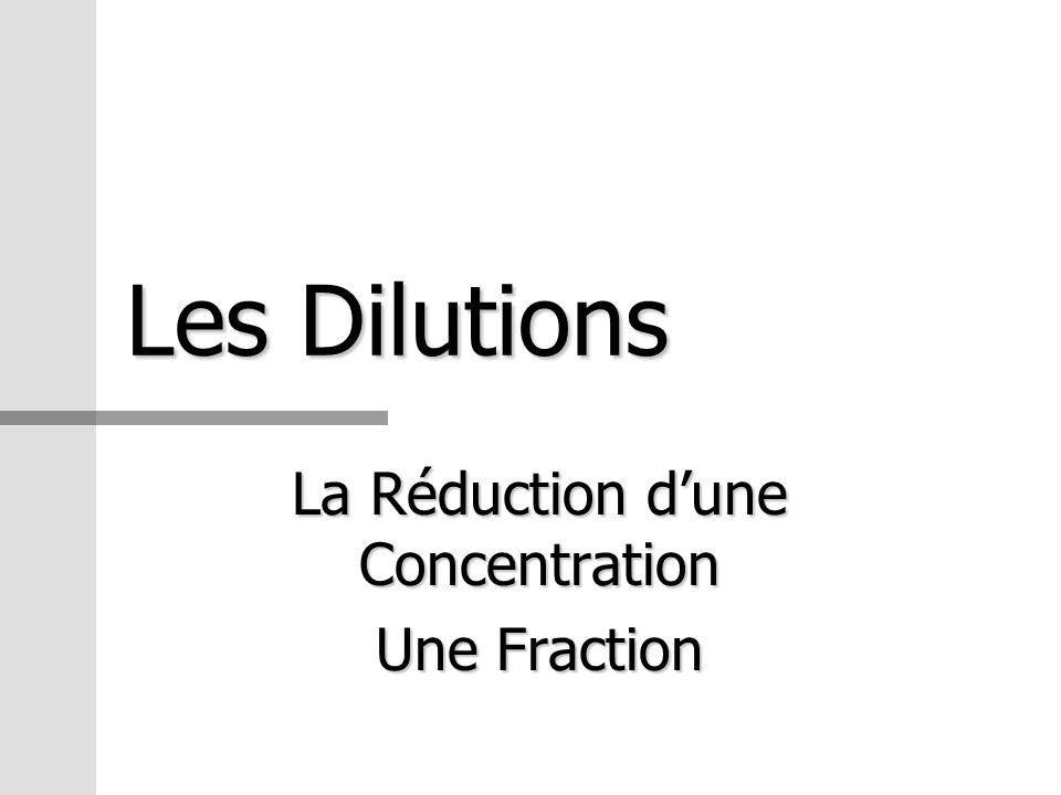 Les Dilutions La Réduction dune Concentration Une Fraction