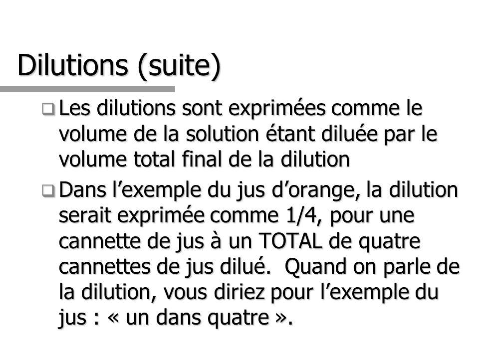 Dilutions (suite) Les dilutions sont exprimées comme le volume de la solution étant diluée par le volume total final de la dilution Les dilutions sont