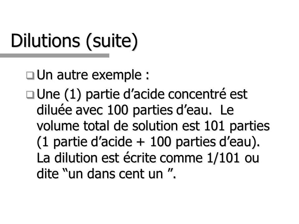 Dilutions (suite) Un autre exemple : Un autre exemple : Une (1) partie dacide concentré est diluée avec 100 parties deau. Le volume total de solution