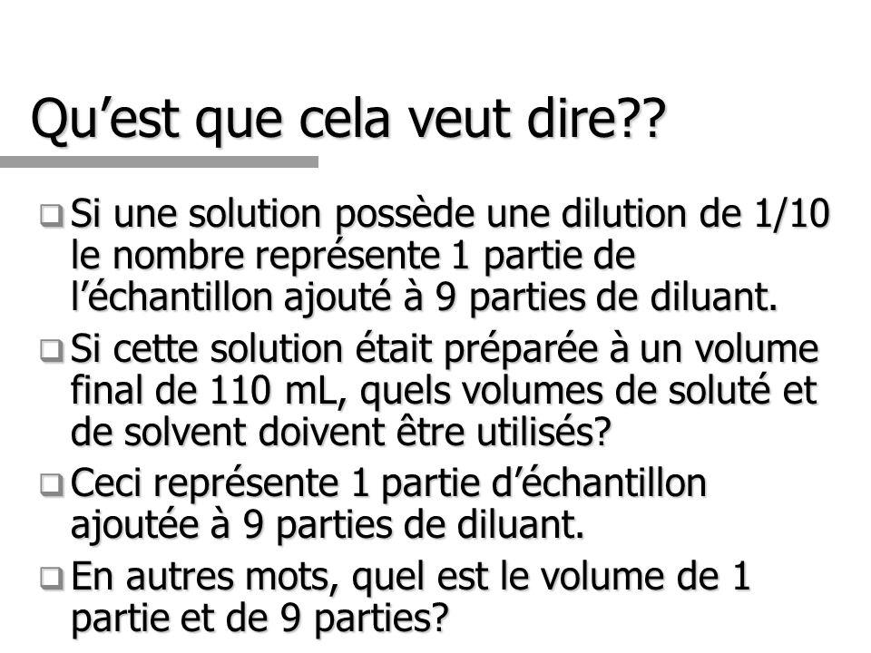 Quest que cela veut dire?? Si une solution possède une dilution de 1/10 le nombre représente 1 partie de léchantillon ajouté à 9 parties de diluant. S