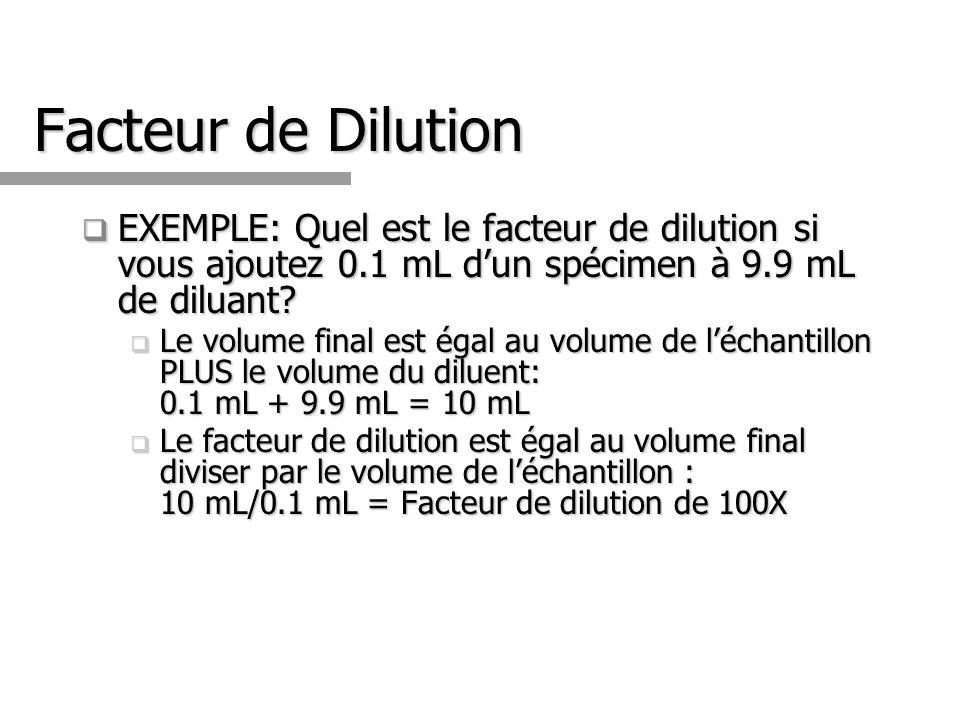 Facteur de Dilution EXEMPLE: Quel est le facteur de dilution si vous ajoutez 0.1 mL dun spécimen à 9.9 mL de diluant? EXEMPLE: Quel est le facteur de