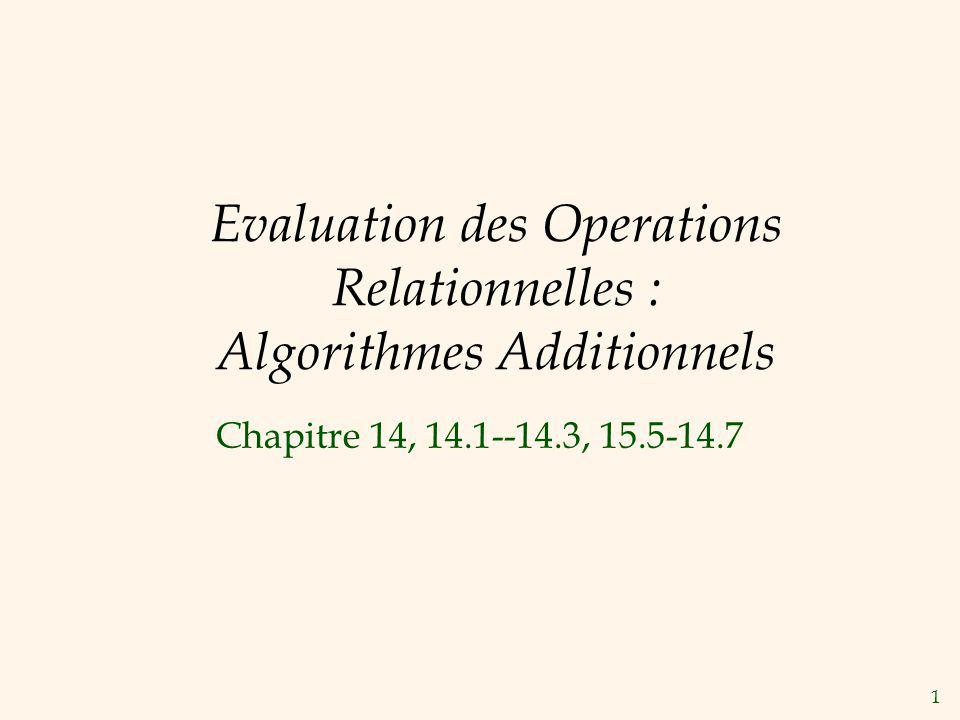 1 Evaluation des Operations Relationnelles : Algorithmes Additionnels Chapitre 14, 14.1--14.3, 15.5-14.7