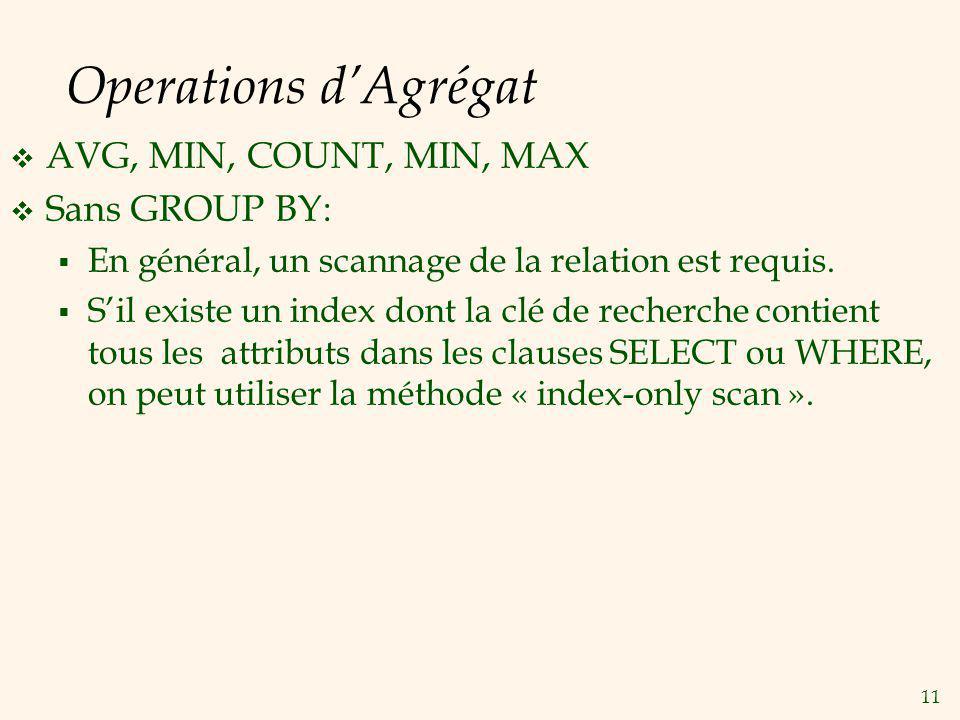 11 Operations dAgrégat AVG, MIN, COUNT, MIN, MAX Sans GROUP BY: En général, un scannage de la relation est requis.