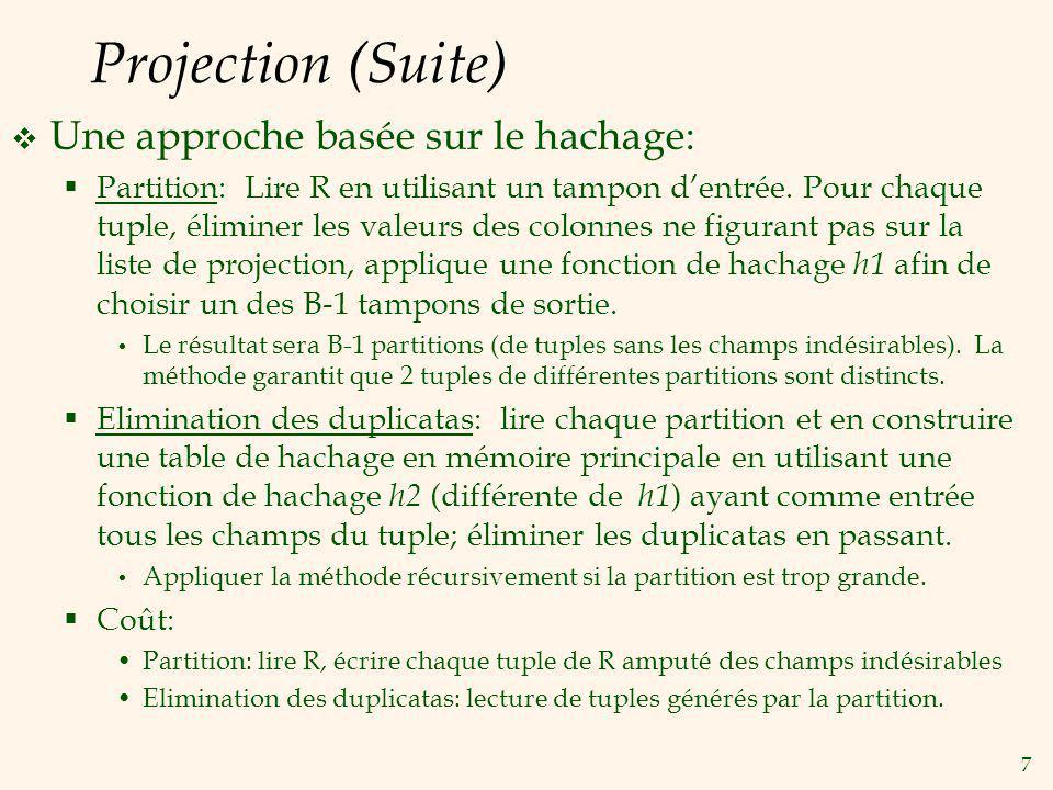 8 Projection (Suite) Les algorithmes basés sur le tri sont standard.
