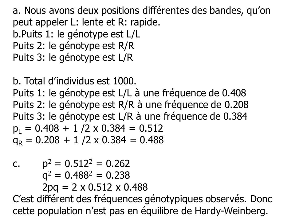 a.Nous avons deux positions différentes des bandes, quon peut appeler L: lente et R: rapide.