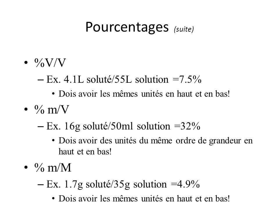 Pourcentages (suite) %V/V – Ex. 4.1L soluté/55L solution =7.5% Dois avoir les mêmes unités en haut et en bas! % m/V – Ex. 16g soluté/50ml solution =32