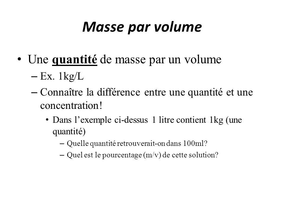 Masse par volume Une quantité de masse par un volume – Ex. 1kg/L – Connaître la différence entre une quantité et une concentration! Dans lexemple ci-d