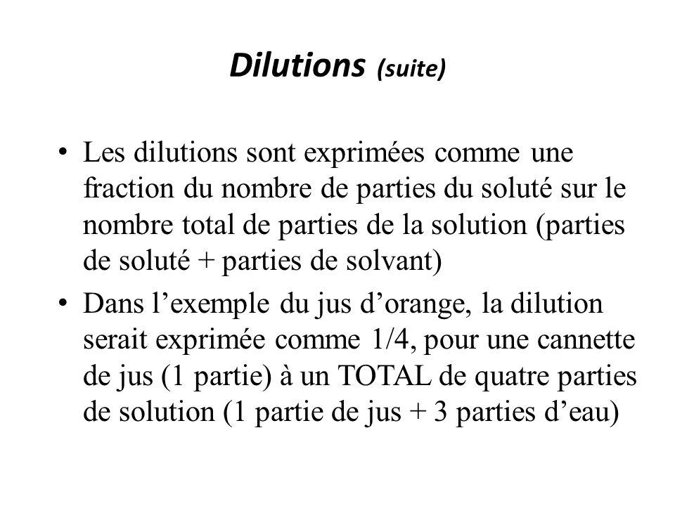 Dilutions (suite) Les dilutions sont exprimées comme une fraction du nombre de parties du soluté sur le nombre total de parties de la solution (parties de soluté + parties de solvant) Dans lexemple du jus dorange, la dilution serait exprimée comme 1/4, pour une cannette de jus (1 partie) à un TOTAL de quatre parties de solution (1 partie de jus + 3 parties deau)