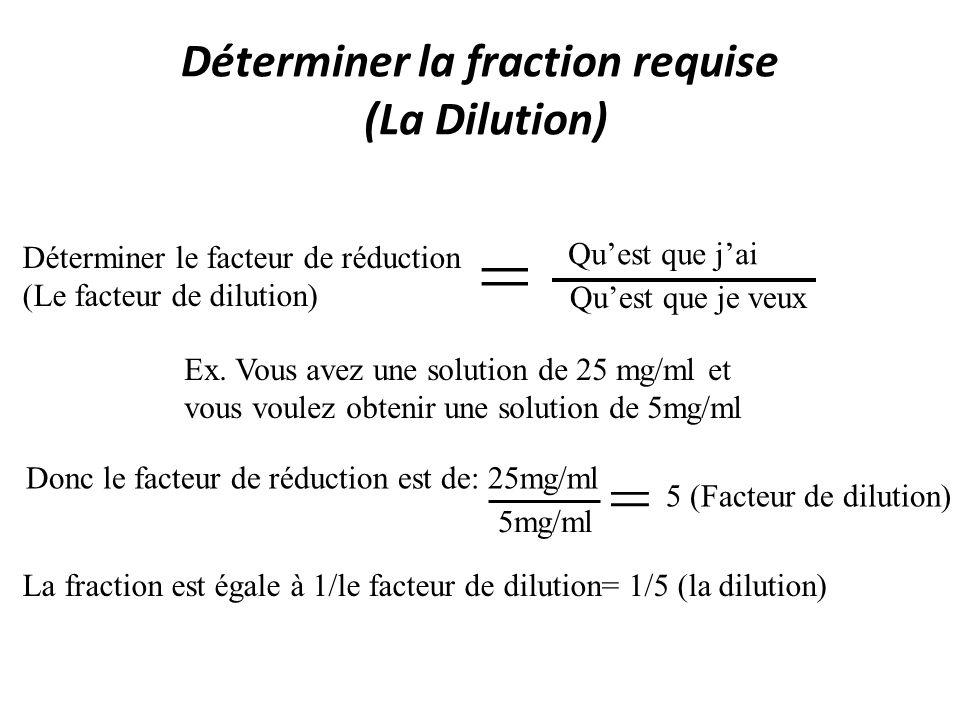 Déterminer la fraction requise (La Dilution) Ex. Vous avez une solution de 25 mg/ml et vous voulez obtenir une solution de 5mg/ml La fraction est égal