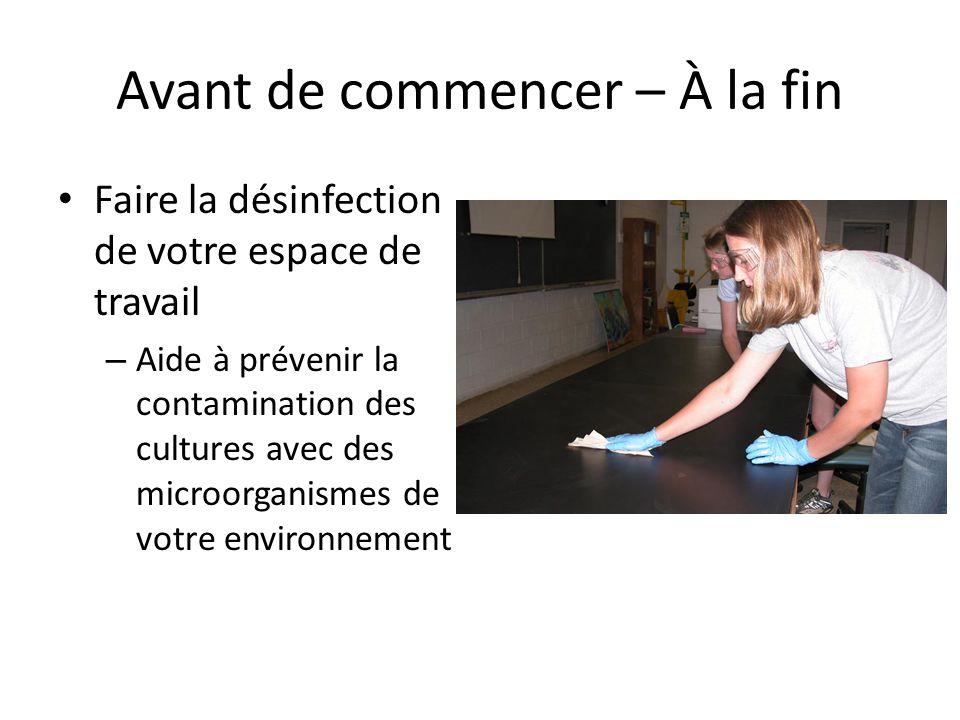 Avant de commencer – À la fin Faire la désinfection de votre espace de travail – Aide à prévenir la contamination des cultures avec des microorganisme