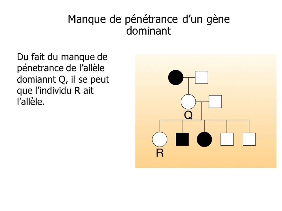 Manque de pénétrance dun gène dominant Du fait du manque de pénetrance de lallèle domiannt Q, il se peut que lindividu R ait lallèle.