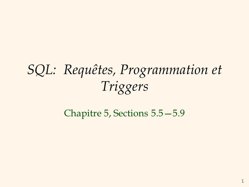 1 SQL: Requêtes, Programmation et Triggers Chapitre 5, Sections 5.55.9