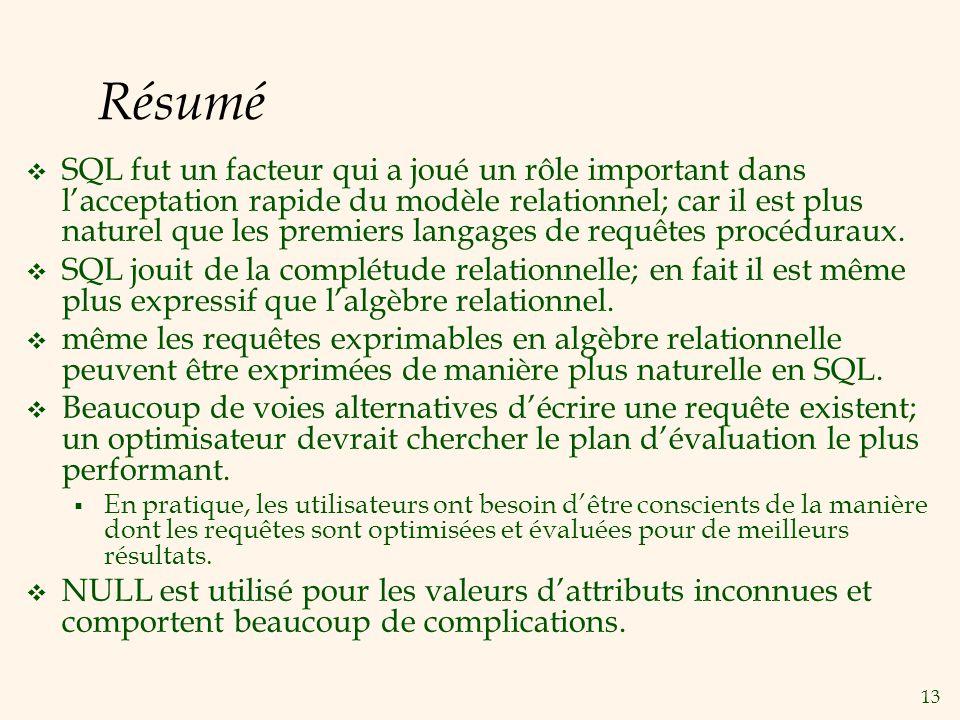 13 Résumé SQL fut un facteur qui a joué un rôle important dans lacceptation rapide du modèle relationnel; car il est plus naturel que les premiers langages de requêtes procéduraux.