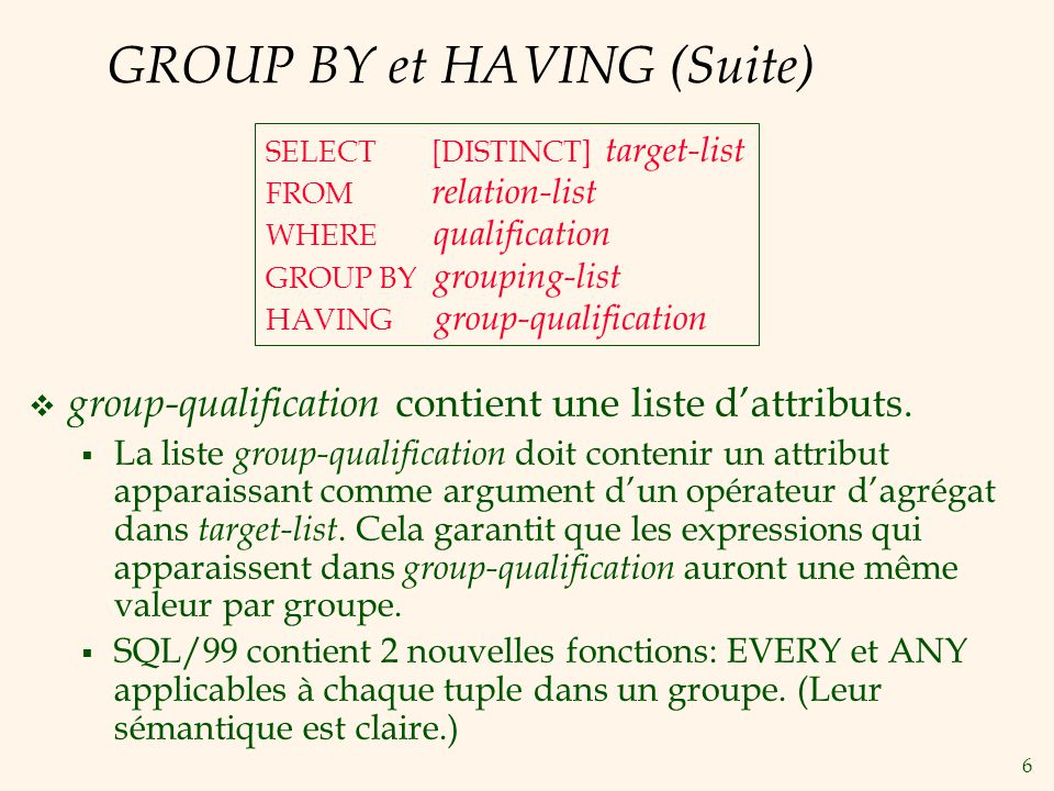 6 GROUP BY et HAVING (Suite) group-qualification contient une liste dattributs. La liste group-qualification doit contenir un attribut apparaissant co