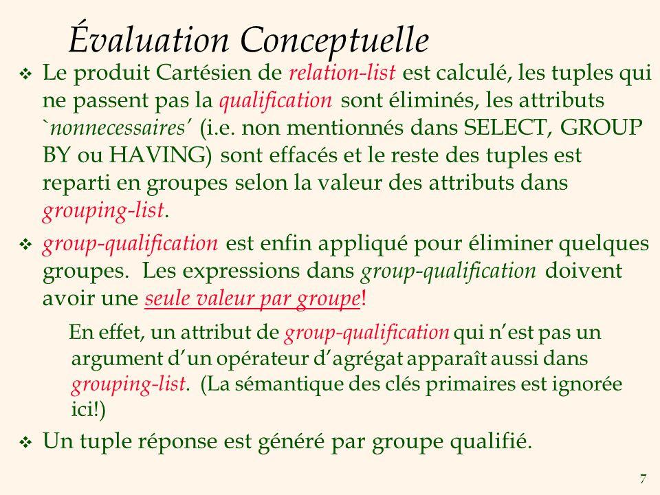 7 Évaluation Conceptuelle Le produit Cartésien de relation-list est calculé, les tuples qui ne passent pas la qualification sont éliminés, les attributs ` nonnecessaires (i.e.