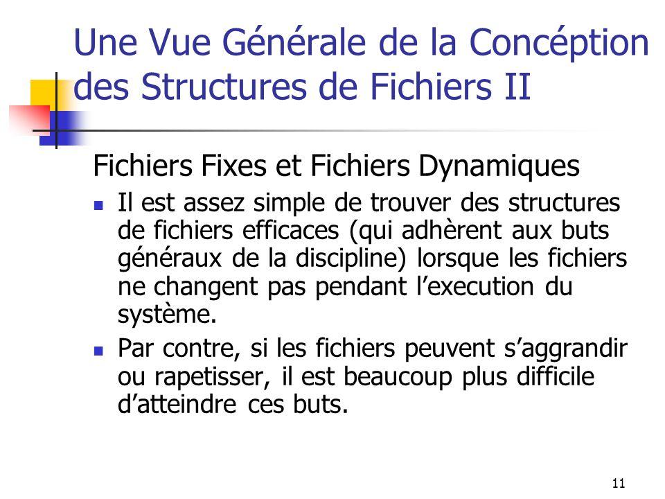 11 Une Vue Générale de la Concéption des Structures de Fichiers II Fichiers Fixes et Fichiers Dynamiques Il est assez simple de trouver des structures de fichiers efficaces (qui adhèrent aux buts généraux de la discipline) lorsque les fichiers ne changent pas pendant lexecution du système.