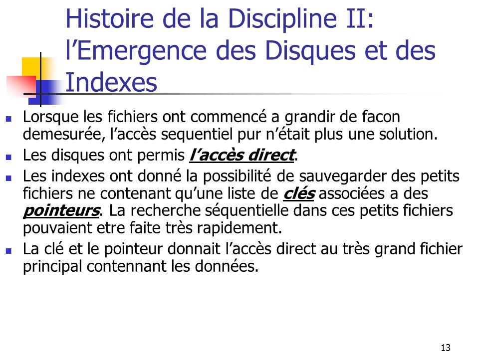 13 Histoire de la Discipline II: lEmergence des Disques et des Indexes Lorsque les fichiers ont commencé a grandir de facon demesurée, laccès sequentiel pur nétait plus une solution.