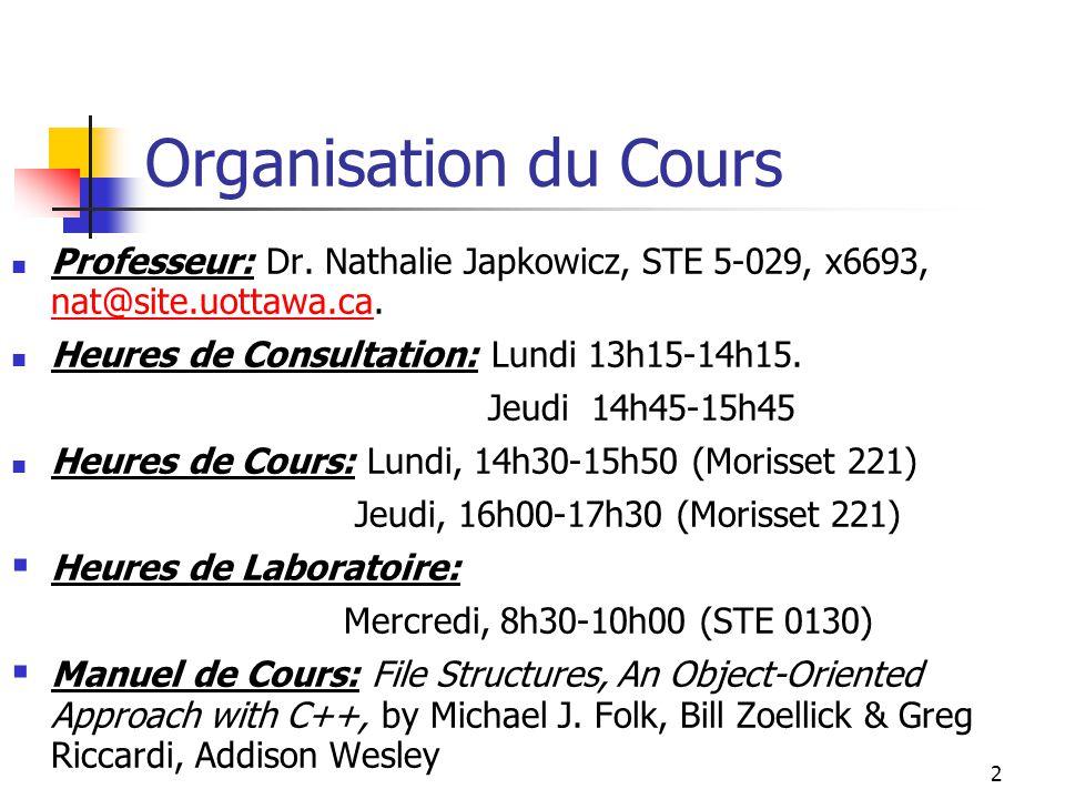 2 Organisation du Cours Professeur: Dr. Nathalie Japkowicz, STE 5-029, x6693, nat@site.uottawa.ca. nat@site.uottawa.ca Heures de Consultation: Lundi 1