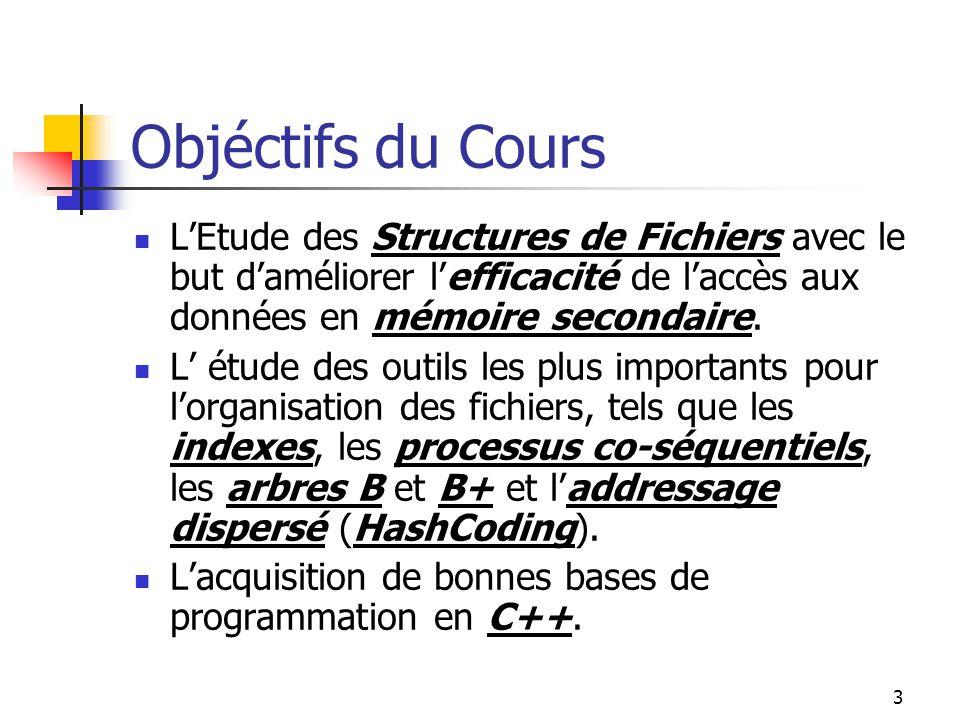 3 Objéctifs du Cours LEtude des Structures de Fichiers avec le but daméliorer lefficacité de laccès aux données en mémoire secondaire. L étude des out