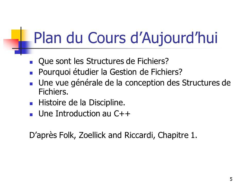 5 Plan du Cours dAujourdhui Que sont les Structures de Fichiers? Pourquoi étudier la Gestion de Fichiers? Une vue générale de la conception des Struct