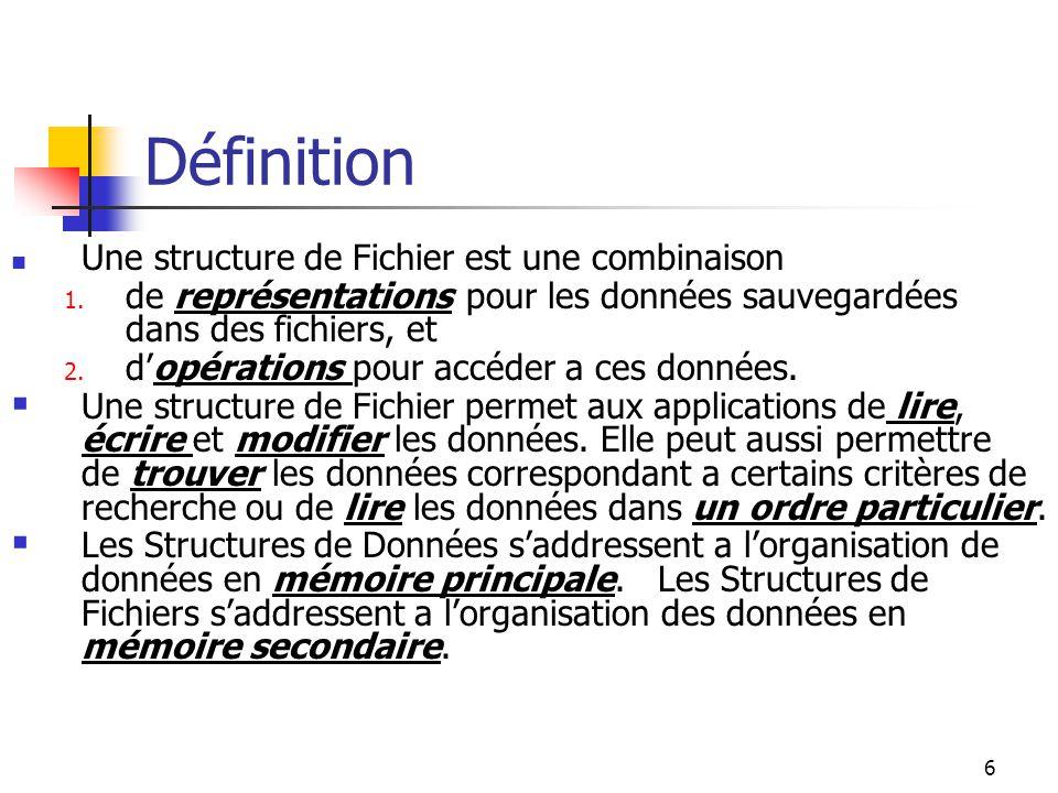 6 Définition Une structure de Fichier est une combinaison 1. de représentations pour les données sauvegardées dans des fichiers, et 2. dopérations pou