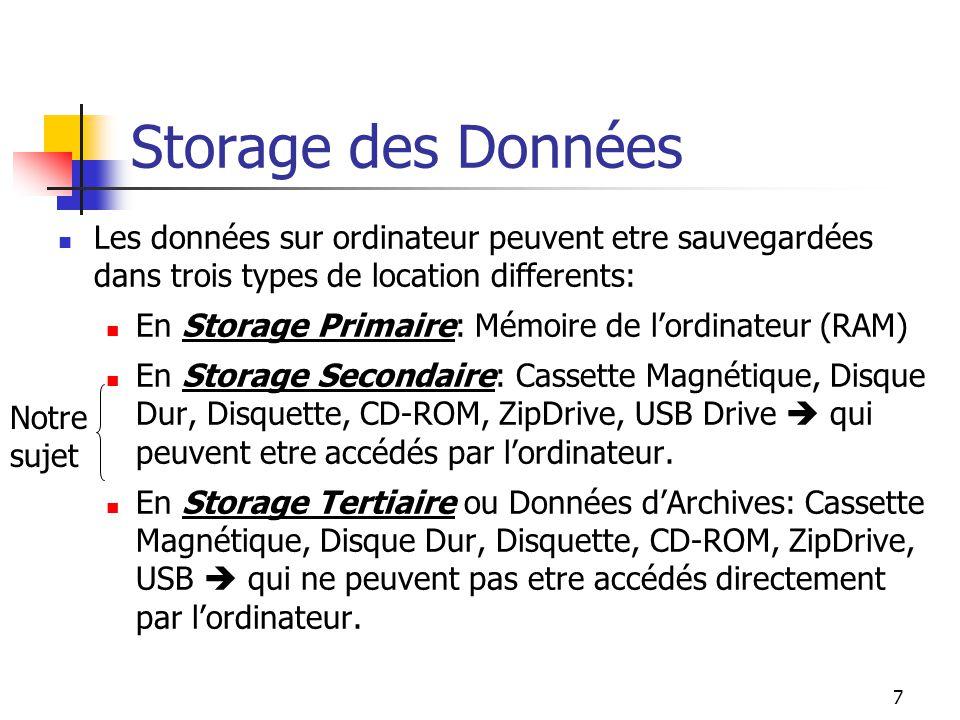 7 Storage des Données Les données sur ordinateur peuvent etre sauvegardées dans trois types de location differents: En Storage Primaire: Mémoire de lordinateur (RAM) En Storage Secondaire: Cassette Magnétique, Disque Dur, Disquette, CD-ROM, ZipDrive, USB Drive qui peuvent etre accédés par lordinateur.
