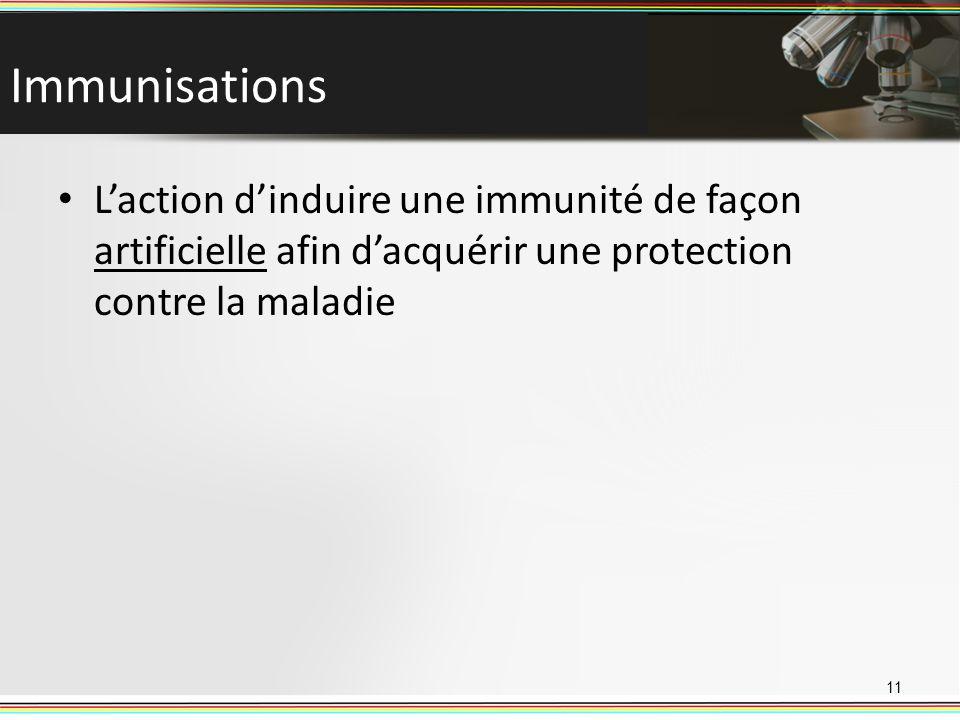 Immunisations Laction dinduire une immunité de façon artificielle afin dacquérir une protection contre la maladie 11