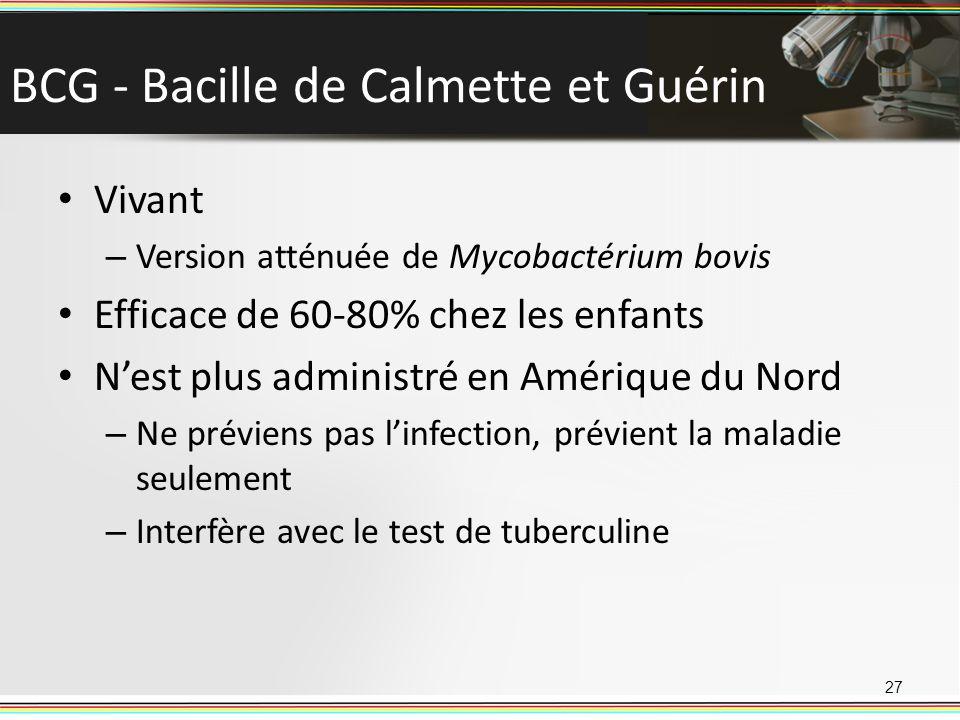 BCG - Bacille de Calmette et Guérin Vivant – Version atténuée de Mycobactérium bovis Efficace de 60-80% chez les enfants Nest plus administré en Améri