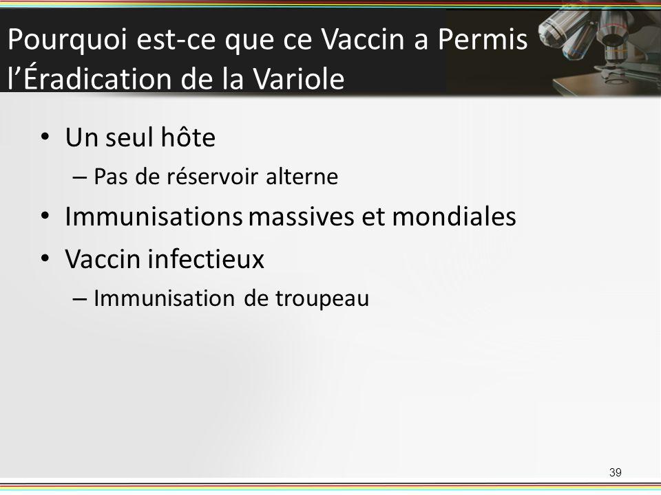 Pourquoi est-ce que ce Vaccin a Permis lÉradication de la Variole Un seul hôte – Pas de réservoir alterne Immunisations massives et mondiales Vaccin i