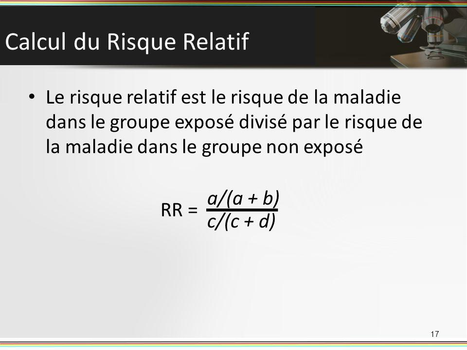 Calcul du Risque Relatif Le risque relatif est le risque de la maladie dans le groupe exposé divisé par le risque de la maladie dans le groupe non exposé 17 RR = a/(a + b) c/(c + d)