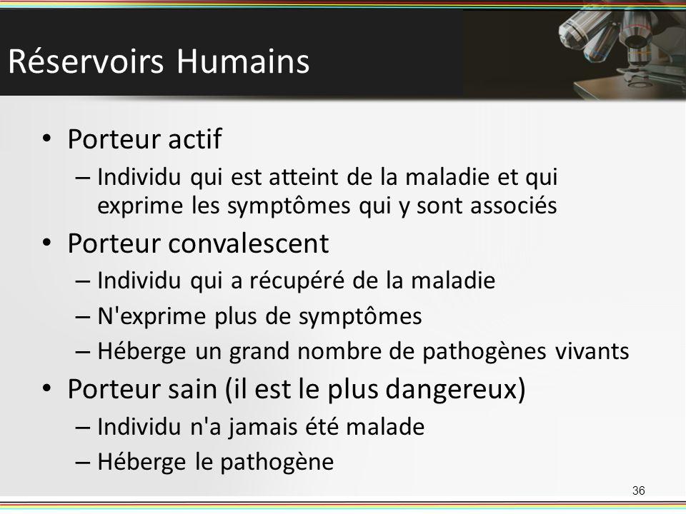 Réservoirs Humains Porteur actif – Individu qui est atteint de la maladie et qui exprime les symptômes qui y sont associés Porteur convalescent – Individu qui a récupéré de la maladie – N exprime plus de symptômes – Héberge un grand nombre de pathogènes vivants Porteur sain (il est le plus dangereux) – Individu n a jamais été malade – Héberge le pathogène 36