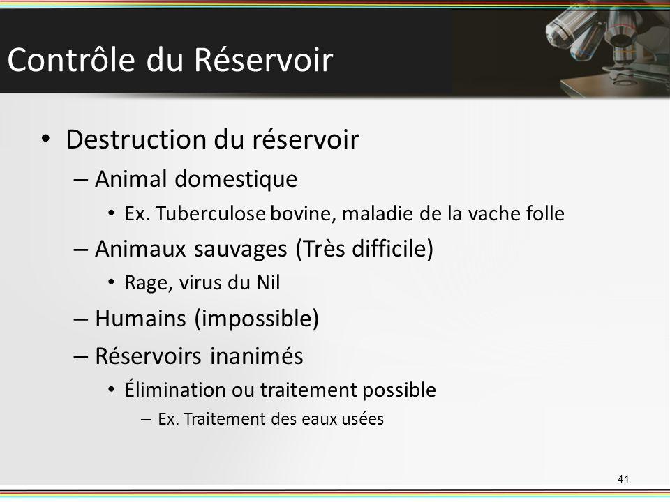Contrôle du Réservoir Destruction du réservoir – Animal domestique Ex. Tuberculose bovine, maladie de la vache folle – Animaux sauvages (Très difficil