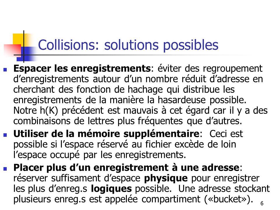 6 Collisions: solutions possibles Espacer les enregistrements: éviter des regroupement denregistrements autour dun nombre réduit dadresse en cherchant