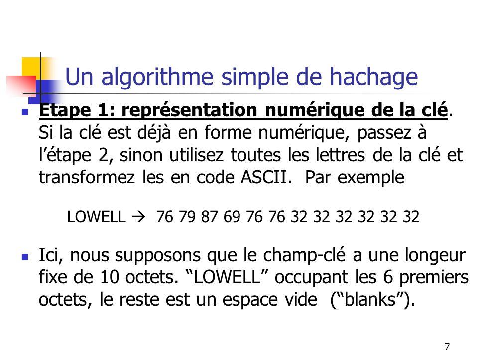 7 Un algorithme simple de hachage Etape 1: représentation numérique de la clé. Si la clé est déjà en forme numérique, passez à létape 2, sinon utilise