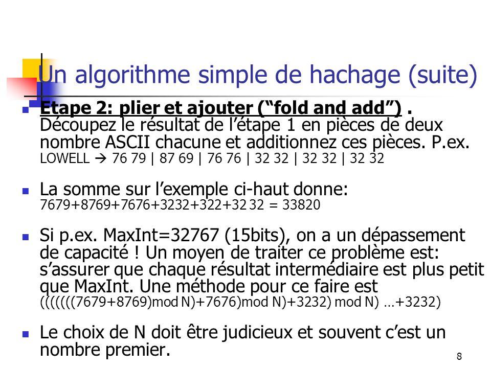 9 Un algorithme simple de hachage (suite) Etape 3: diviser par la taille du fichier et utiliser le reste comme adresse.
