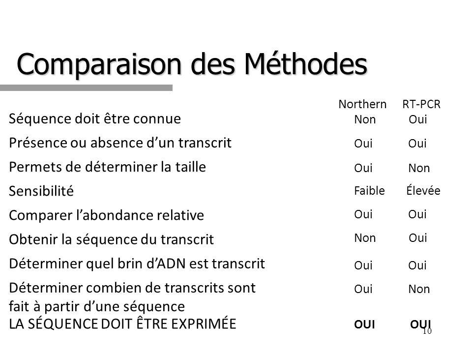 Comparaison des Méthodes 10 Northern RT-PCR Séquence doit être connue Présence ou absence dun transcrit Permets de déterminer la taille Sensibilité Co