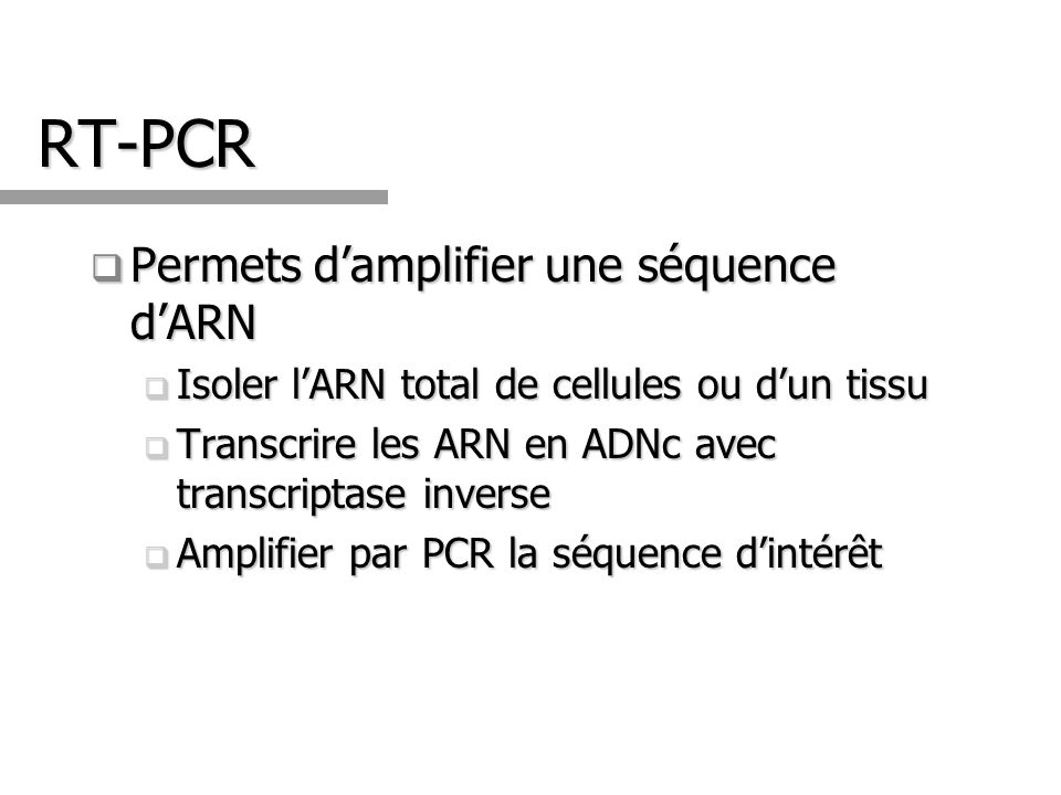 RT-PCR Permets damplifier une séquence dARN Permets damplifier une séquence dARN Isoler lARN total de cellules ou dun tissu Isoler lARN total de cellu