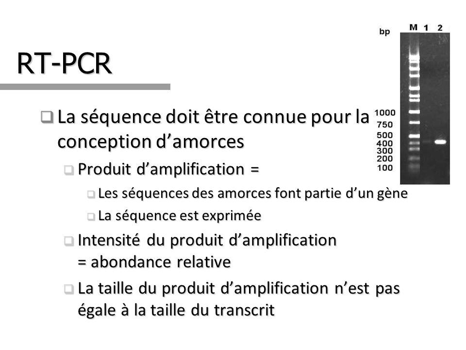 RT-PCR La séquence doit être connue pour la conception damorces La séquence doit être connue pour la conception damorces Produit damplification = Prod