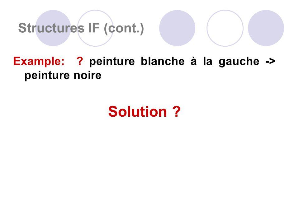 Structures IF (cont.) Example: peinture blanche à la gauche -> peinture noire Solution