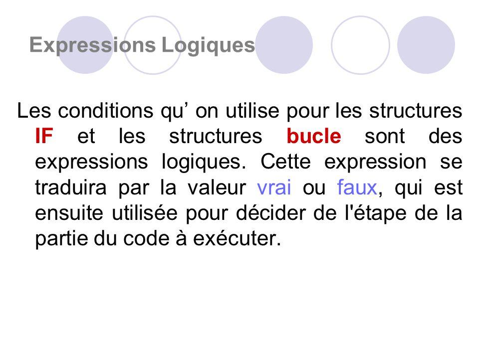 Expressions Logiques Les conditions qu on utilise pour les structures IF et les structures bucle sont des expressions logiques.