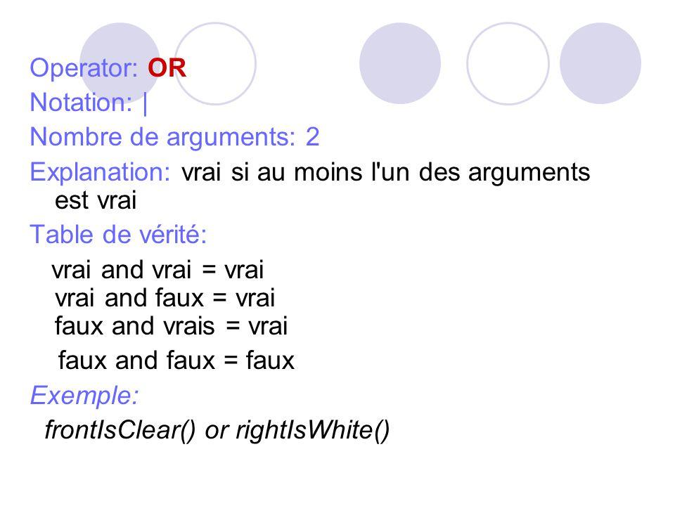 Operator: OR Notation: | Nombre de arguments: 2 Explanation: vrai si au moins l un des arguments est vrai Table de vérité: vrai and vrai = vrai vrai and faux = vrai faux and vrais = vrai faux and faux = faux Exemple: frontIsClear() or rightIsWhite()
