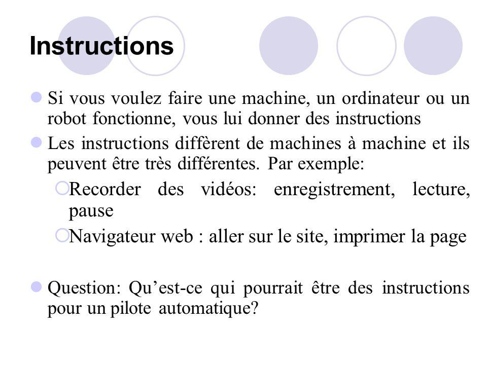 Instructions Si vous voulez faire une machine, un ordinateur ou un robot fonctionne, vous lui donner des instructions Les instructions diffèrent de machines à machine et ils peuvent être très différentes.