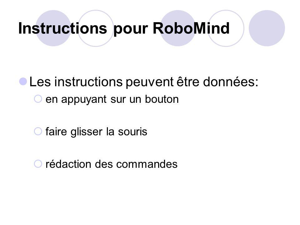 Instructions pour RoboMind Les instructions peuvent être données: en appuyant sur un bouton faire glisser la souris rédaction des commandes