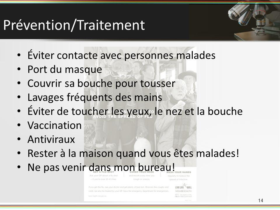 Prévention/Traitement Éviter contacte avec personnes malades Port du masque Couvrir sa bouche pour tousser Lavages fréquents des mains Éviter de touch