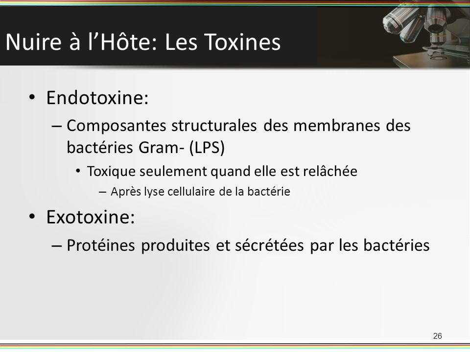 Nuire à lHôte: Les Toxines Endotoxine: – Composantes structurales des membranes des bactéries Gram- (LPS) Toxique seulement quand elle est relâchée – Après lyse cellulaire de la bactérie Exotoxine: – Protéines produites et sécrétées par les bactéries 26
