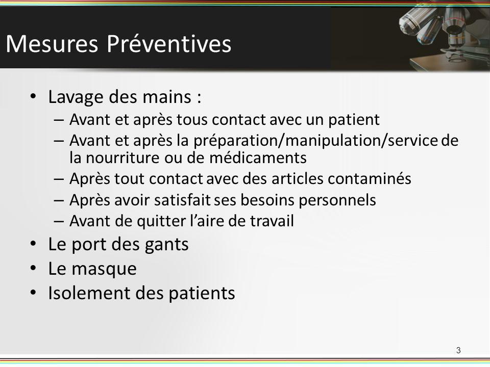 Mesures Préventives Lavage des mains : – Avant et après tous contact avec un patient – Avant et après la préparation/manipulation/service de la nourri