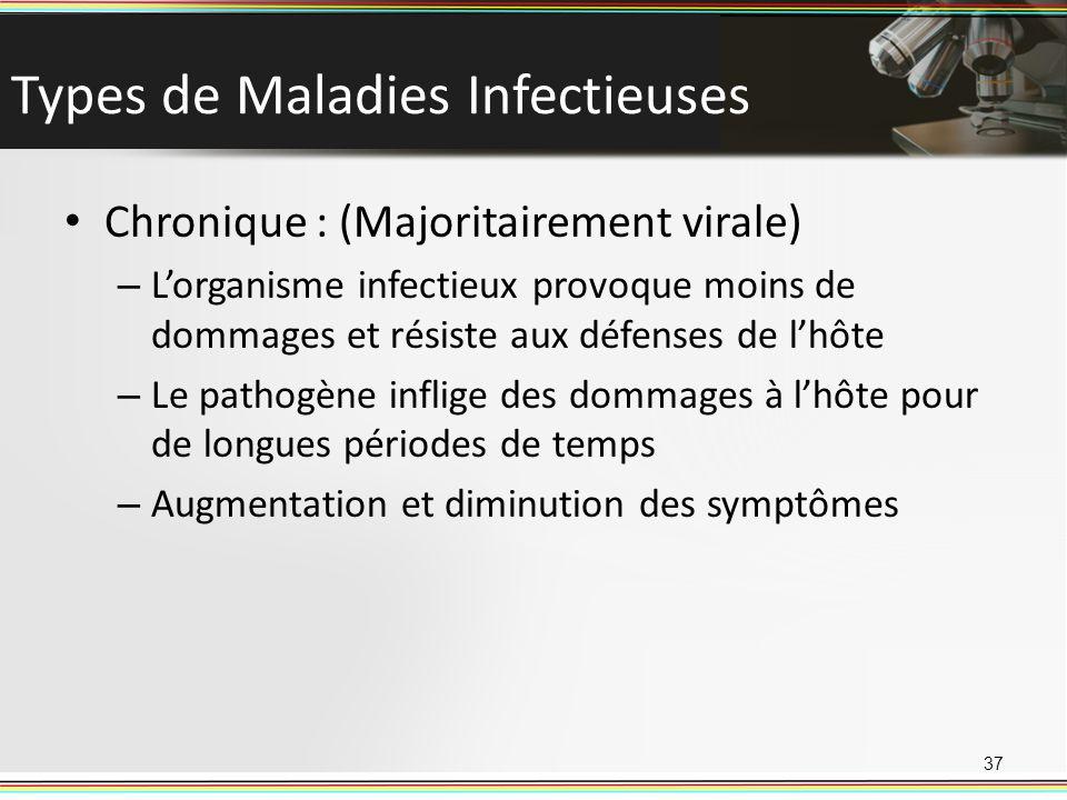 Types de Maladies Infectieuses Chronique : (Majoritairement virale) – Lorganisme infectieux provoque moins de dommages et résiste aux défenses de lhôte – Le pathogène inflige des dommages à lhôte pour de longues périodes de temps – Augmentation et diminution des symptômes 37